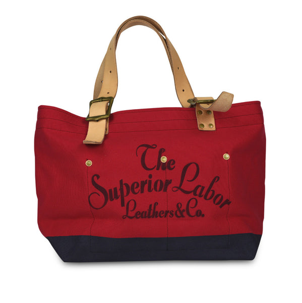 The Superior Labor Engineer Tote bag S red body navy paint stencil #04 - NOMADO Store