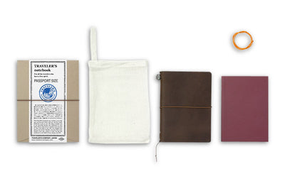 Midori Traveler's Notebook Passport size - Starter kit Brown - NOMADO Store