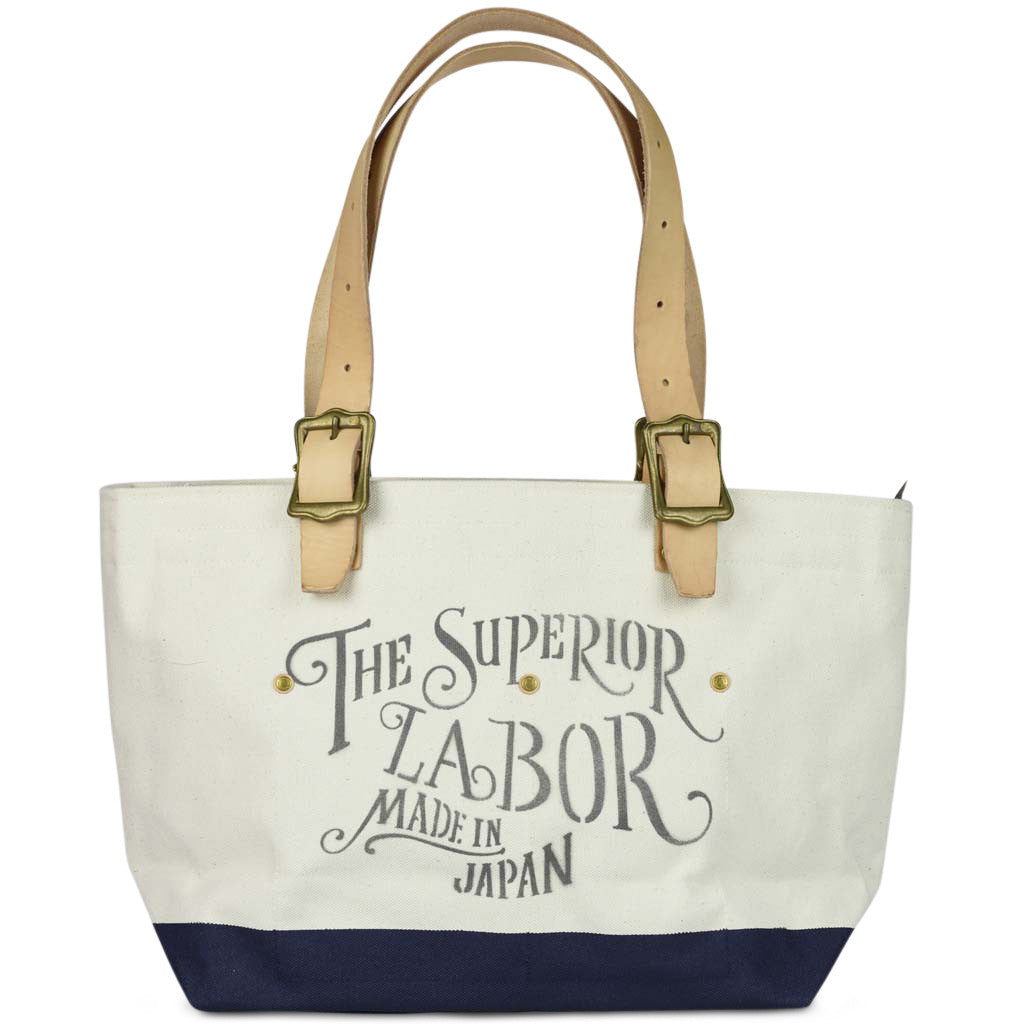 The Superior Labor Engineer Tote bag S natural body navy paint - NOMADO Store