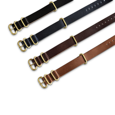 Superior Labor NATO type luxury leather watch strap, solid brass fittings - NOMADO Store