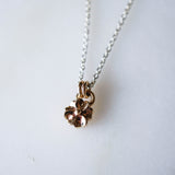 Single Flower Pendant-14k and Silver