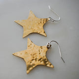 Brass Single Star Earrings