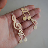Brass Music Note Earrings