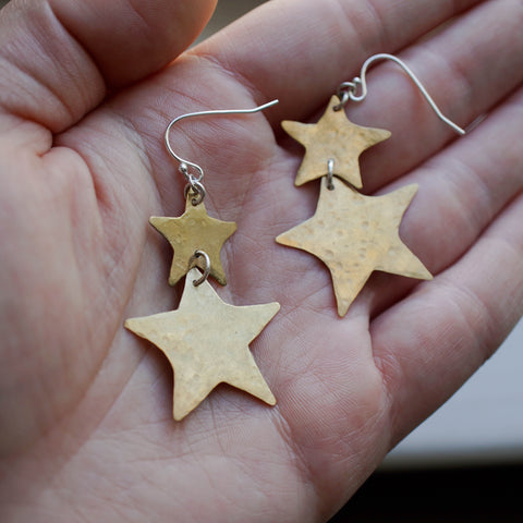 Brass Double Star Earrings