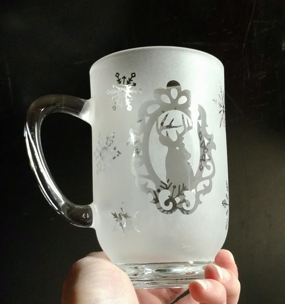 16 Oz Framed Deer With Snowflakes Etched Glass Mug Creative Enchantment Candles More