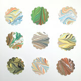 Assorted Round Scalloped Stickers 2.25""