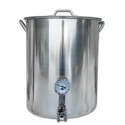 Kettle - 15 Gallon (Stainless Steel) with Ball Valve and Thermometer - Grain To Glass