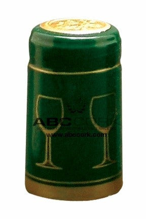 Shrink Cap - Solid Green/Gold Glass (30 Pack) - Grain To Glass