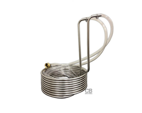 "Wort Chiller Stainless Steel - Immersion 25' x 3/8"" With Vinyl Tubing"