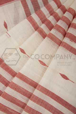 Red Booti Khadi Saree
