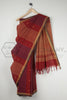 Jaamdani on Brick Red Khadi Saree
