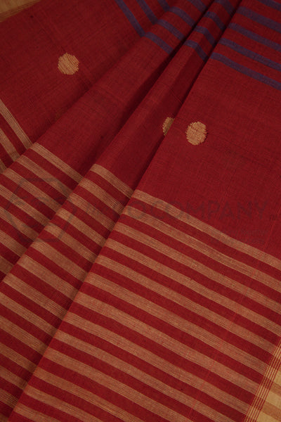 Jaamdani on Brick Red Saree