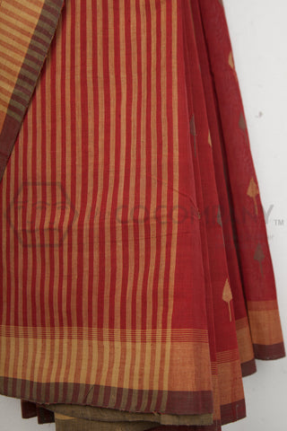 Brick Red Jaamdani Khadi Saree