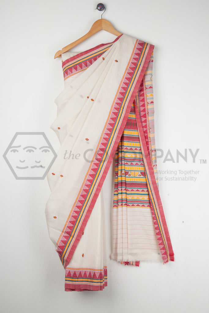 White Dongria Kondh Saree