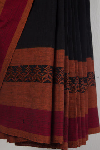 Black Jaamdani Cotton Saree