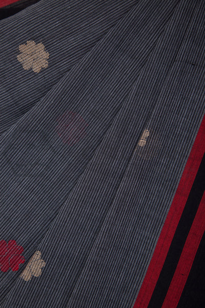 Grey Striped Jamdani Cotton Saree