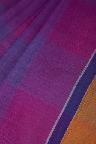 Pink Blue Checkered Cotton Saree