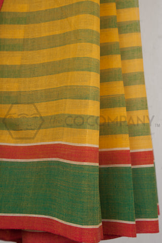 Yellow Green Striped Cotton Saree