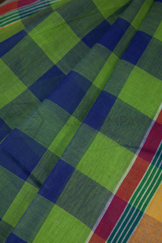 Green Blue Checkered Cotton Saree