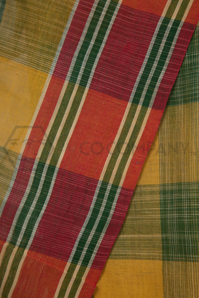 Checkered Tie Dye Cotton Saree