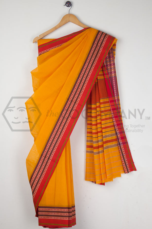 Yellow Begampur Cotton Saree