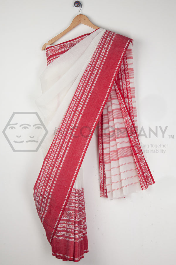 White Cotton Linen Saree