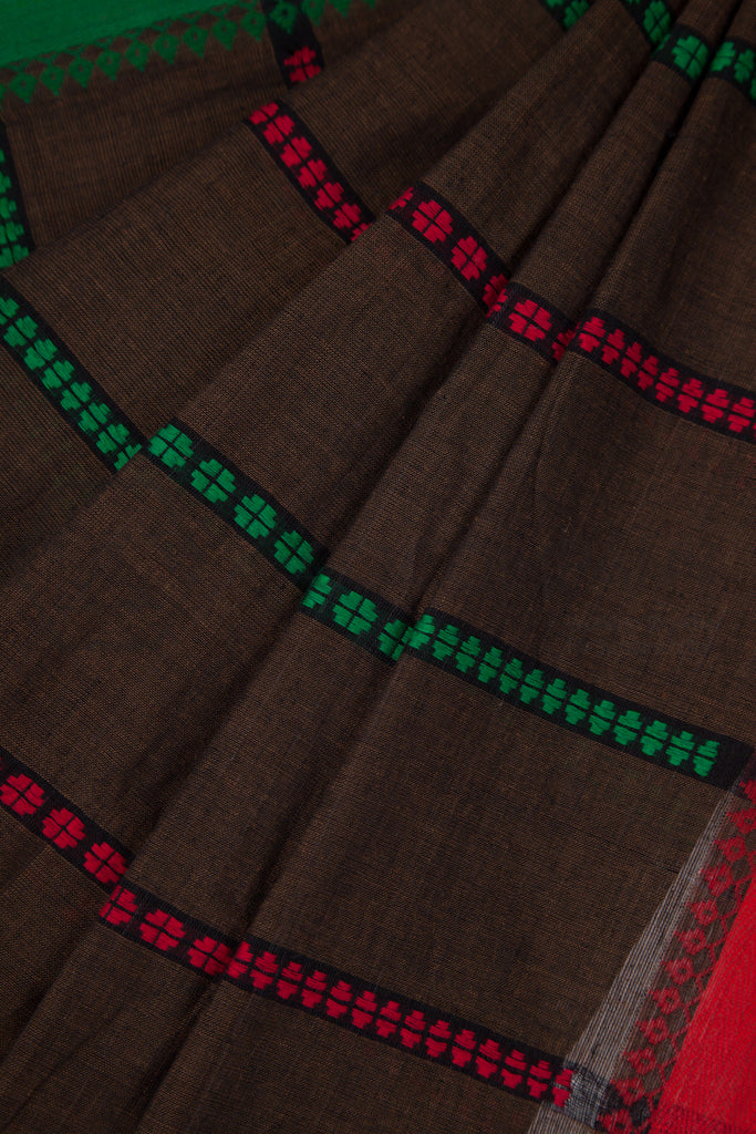 Brown Begampur Cotton Saree