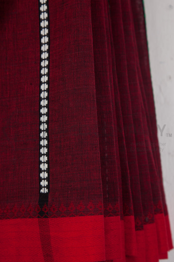 Maroon Begampur Cotton Saree