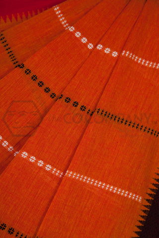 Orange Begampur Cotton Saree