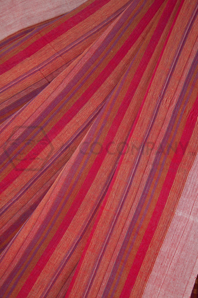 Pink Striped Cotton Saree