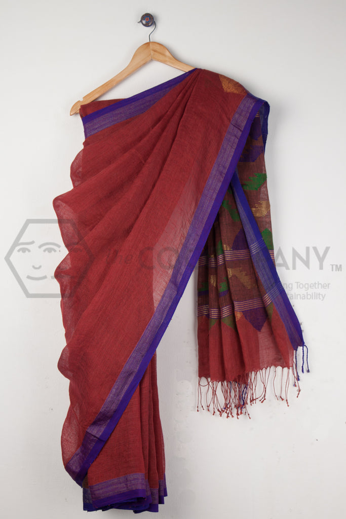 Jaamdani with Zari Linen Saree