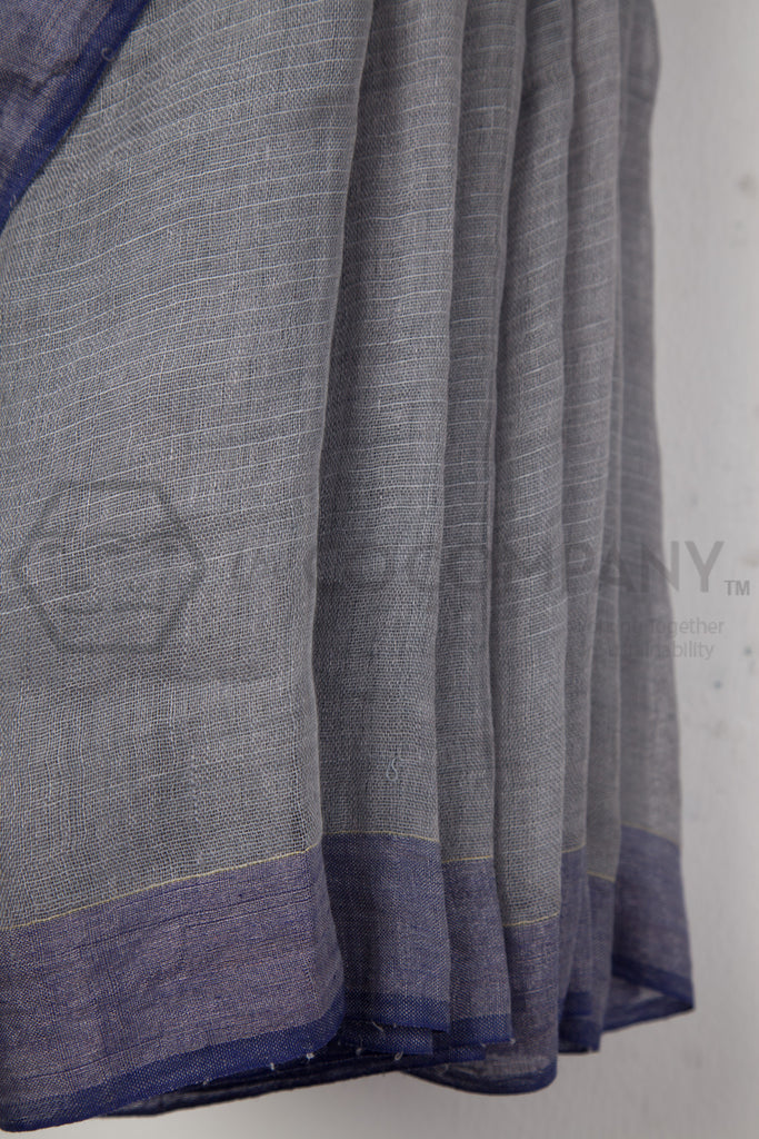 Linen Jaamdani Saree with Zari