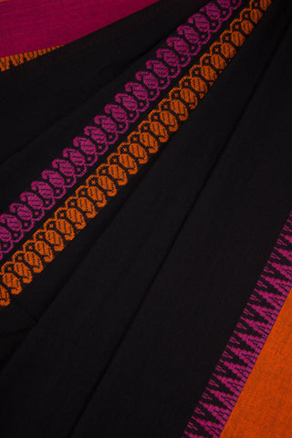 Black Begampur Cotton Saree