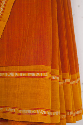 Rudraksh Border Orange Yellow Saree