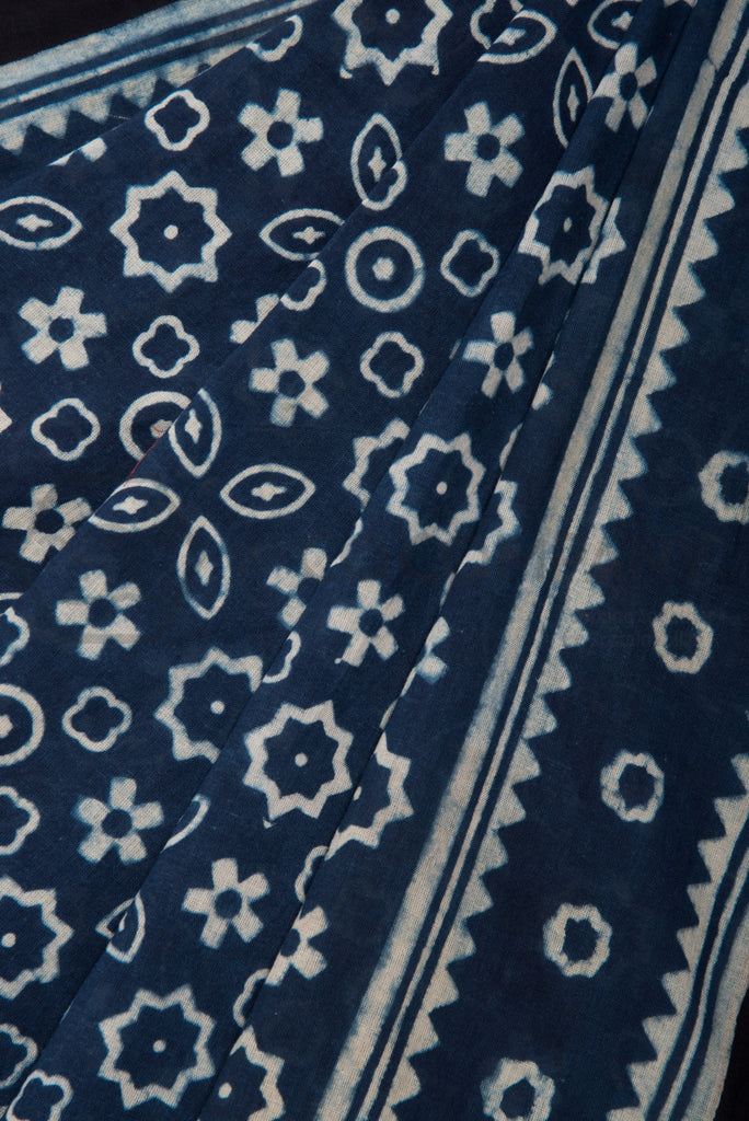 Blue Ajrakh Saree