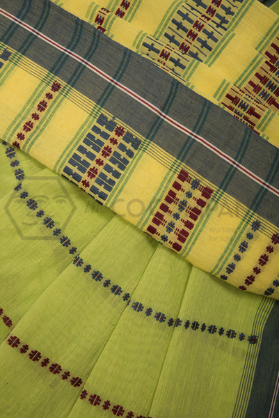 Mint Begampur Cotton Saree