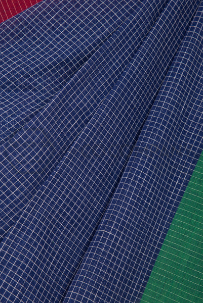 Checkered Cotton Saree with Colorful Pallu