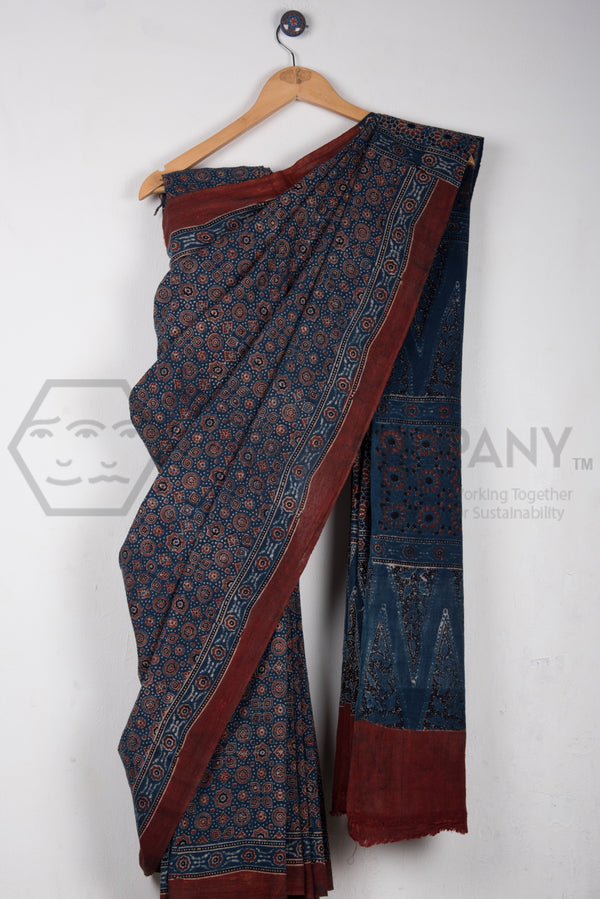 Blue Kala Cotton Ajrakh Saree