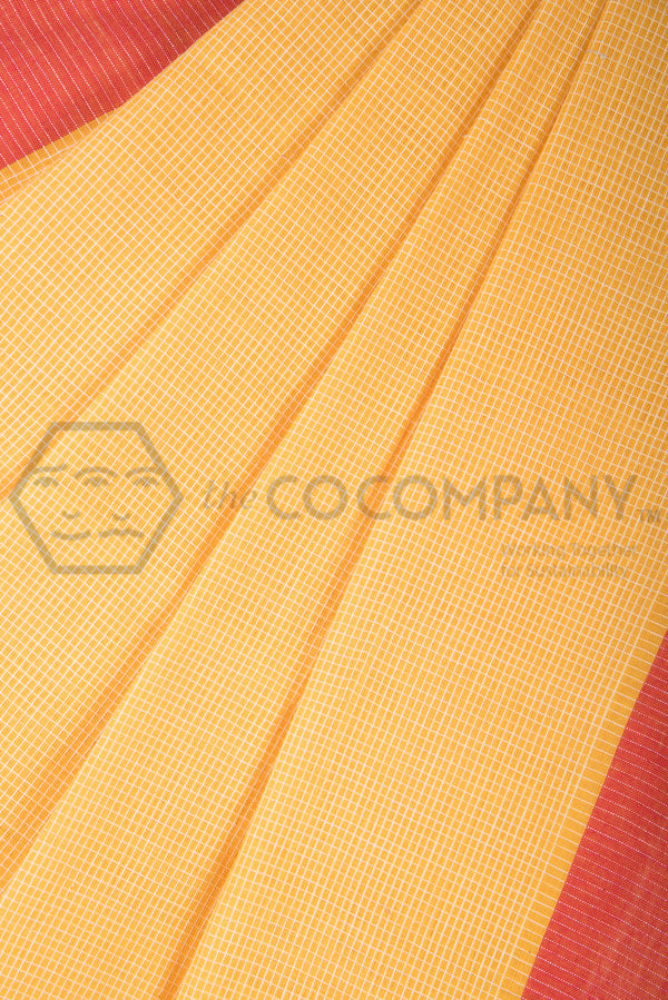 Bright Yellow Checkered Khadi Saree