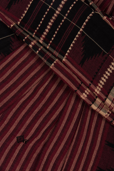 Striped Kotpad Saree with Fish Motifs