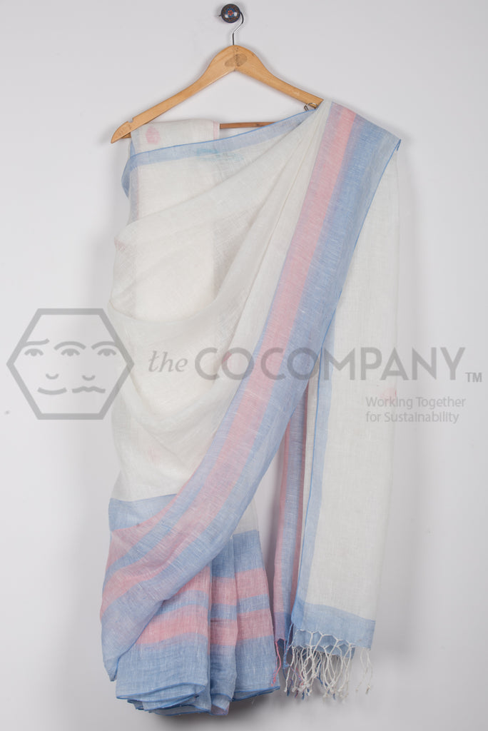 White Blue Linen Jaamdani Saree