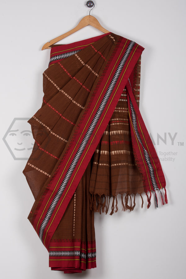 Brown Begampur Saree