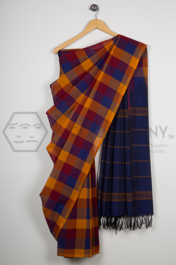 Contrast Checkered Cotton Saree