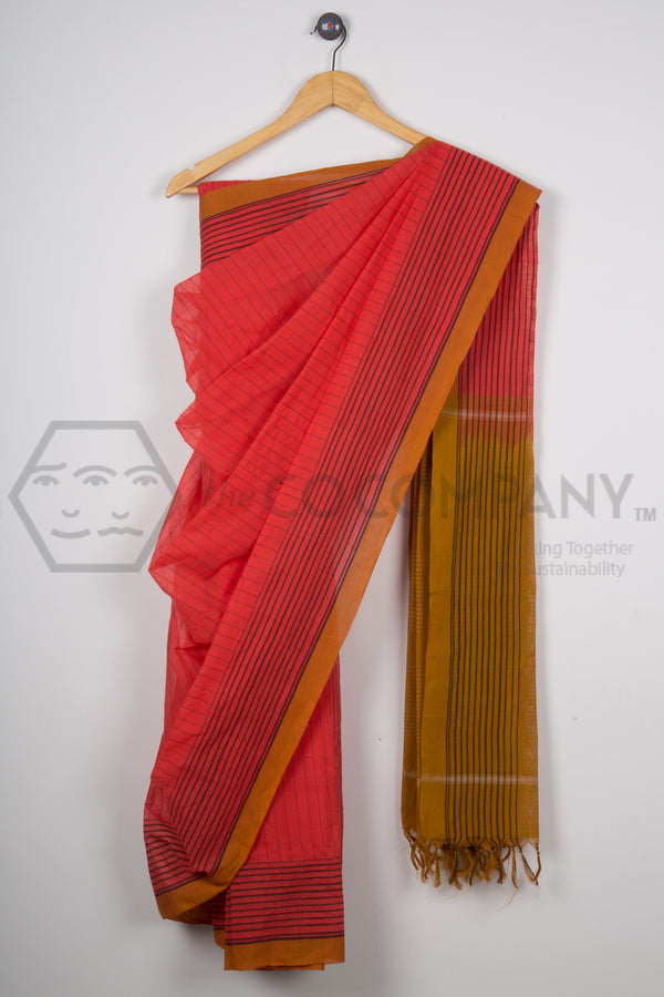 Peach Orange Striped Cotton Saree