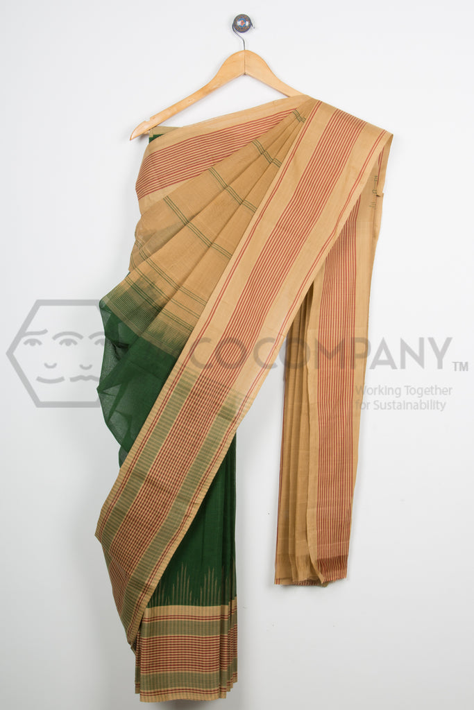 Green Temple Cotton Saree