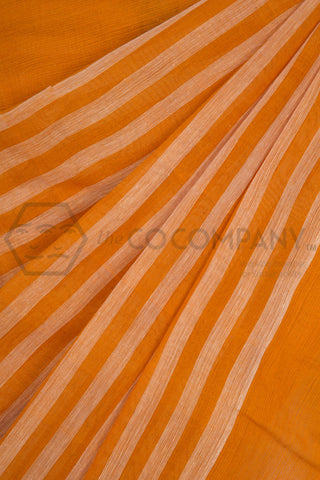 Ochre Checkered Dhaniakhali Cotton Saree