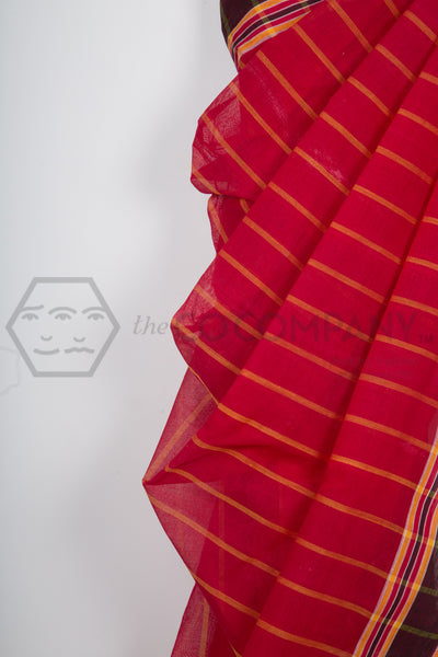 Red Striped Dhaniakhali Cotton Saree