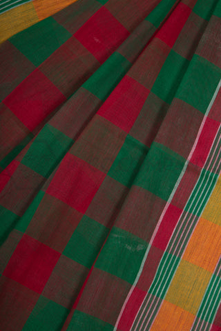 Green Red Dhaniakhali Cotton Saree