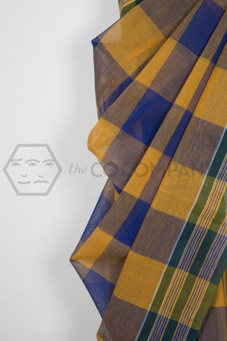 Yellow Blue Dhaniakhali Cotton Saree
