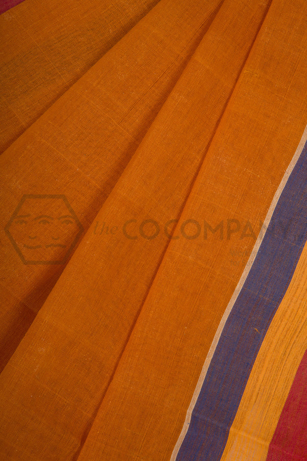 Orange Dhaniakhali Cotton Saree